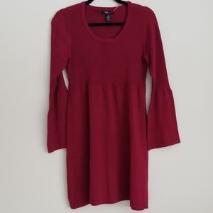 NWOT Style & Co Burgundy dress with bell sleeves
